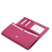 イタリア製シボ型押しレザーのレディース長財布 NEFTI、フーシャピンク、詳細4