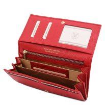 イタリア製シボ型押しレザーのレディース長財布 NEFTI、ルージュ、詳細3