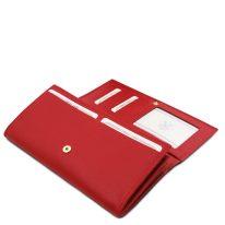 イタリア製シボ型押しレザーのレディース長財布 NEFTI、ルージュ、詳細4