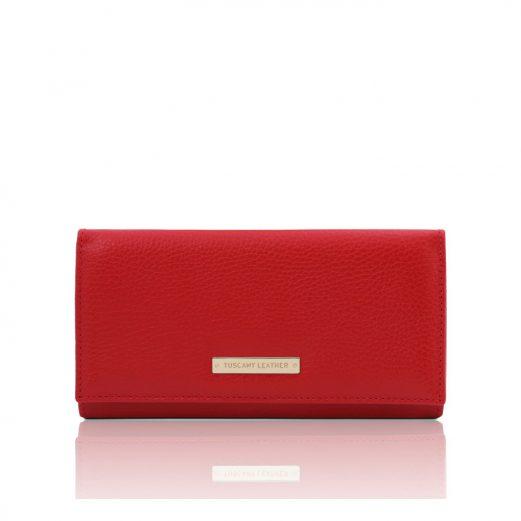 イタリア製シボ型押しレザーのレディース長財布 NEFTI、ルージュ