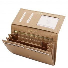 イタリア製シボ型押しレザーのレディース長財布 NEFTI、シャンパーニュ、詳細3