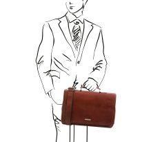 イタリア製ベジタブルタンニンレザーのビジネスバッグ MANTOVA2、ブラウン、詳細3