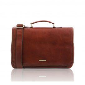 イタリア製ベジタブルタンニンレザーのビジネスバッグ MANTOVA2、ブラウン