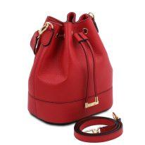 イタリア製シボ型押しレザー2WAY巾着バッグ TL BAG、ルージュ、詳細1