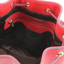 イタリア製シボ型押しレザー2WAY巾着バッグ TL BAG、ルージュ、詳細3