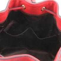 イタリア製シボ型押しレザー2WAY巾着バッグ TL BAG、ルージュ、詳細4