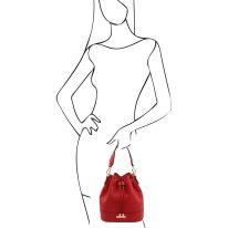 イタリア製シボ型押しレザー2WAY巾着バッグ TL BAG、ルージュ、詳細5