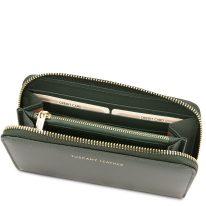イタリア製スムースレザーのレディース長財布 VENERE、フォレストグリーン、詳細3
