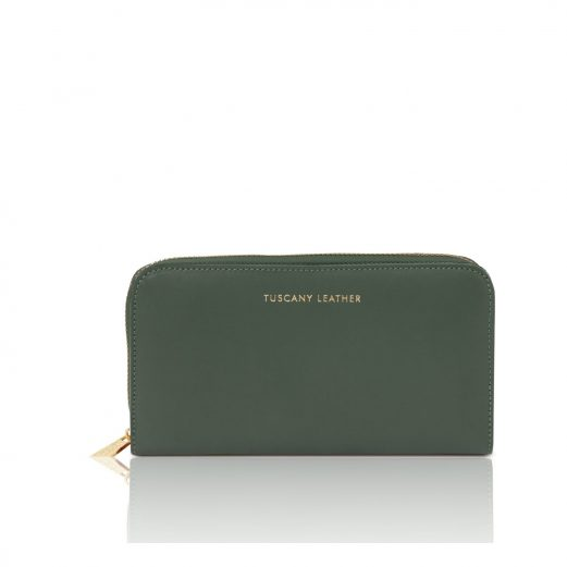イタリア製スムースレザーのレディース長財布 VENERE、フォレストグリーン