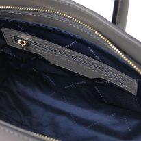 イタリア製スムースレザー2WAYハンドバッグ BRIGID、グレイ、詳細4
