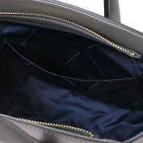 イタリア製スムースレザー2WAYハンドバッグ BRIGID、グレイ、詳細5