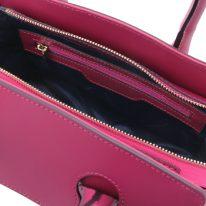 イタリア製スムースレザー2WAYハンドバッグ BRIGID、フーシャピンク、詳細4