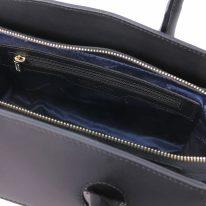 イタリア製スムースレザー2WAYハンドバッグ BRIGID、ブラック、詳細3