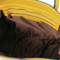 イタリア製スムースレザー2WAYトートバッグ LETIZIA、イエロー、詳細4