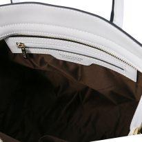 イタリア製スムースレザー2WAYトートバッグ LETIZIA、ホワイト、詳細4