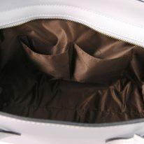 イタリア製スムースレザー2WAYトートバッグ LETIZIA、ホワイト、詳細5