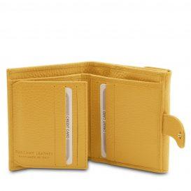 イタリア製シボ型押しレザーの三つ折りミニ財布 CALLIOPE、イエロー、詳細3