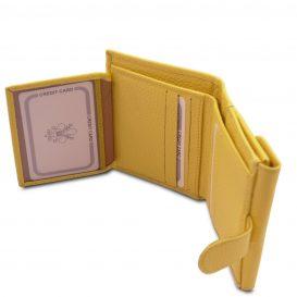 イタリア製シボ型押しレザーの三つ折りミニ財布 CALLIOPE、イエロー、詳細4