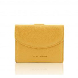 イタリア製シボ型押しレザーの三つ折りミニ財布 CALLIOPE、イエロー