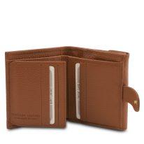 イタリア製シボ型押しレザーの三つ折りミニ財布 CALLIOPE、コニャック、詳細3