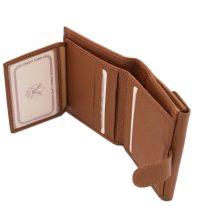 イタリア製シボ型押しレザーの三つ折りミニ財布 CALLIOPE、コニャック、詳細4