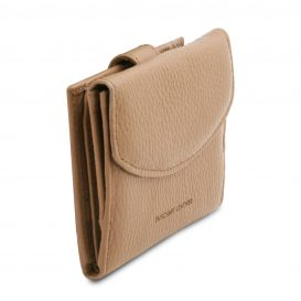 イタリア製シボ型押しレザーの三つ折りミニ財布 CALLIOPE、シャンパーニュ、詳細1