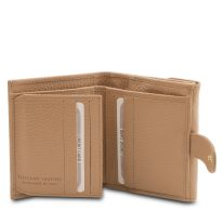 イタリア製シボ型押しレザーの三つ折りミニ財布 CALLIOPE、シャンパーニュ、詳細3