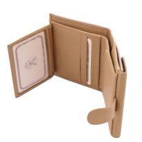 イタリア製シボ型押しレザーの三つ折りミニ財布 CALLIOPE、シャンパーニュ、詳細4