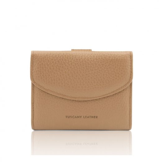 イタリア製シボ型押しレザーの三つ折りミニ財布 CALLIOPE、シャンパーニュ