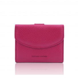 イタリア製シボ型押しレザーの三つ折りミニ財布 CALLIOPE、フーシャピンク