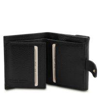 イタリア製シボ型押しレザーの三つ折りミニ財布 CALLIOPE、ブラック、詳細3