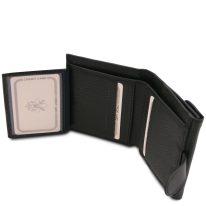イタリア製シボ型押しレザーの三つ折りミニ財布 CALLIOPE、ブラック、詳細4