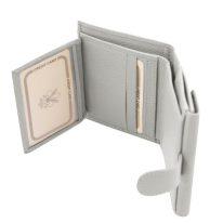 イタリア製シボ型押しレザーの三つ折りミニ財布 CALLIOPE、ライトグレイ、詳細4