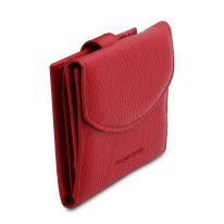 イタリア製シボ型押しレザーの三つ折りミニ財布 CALLIOPE、ルージュ、詳細1