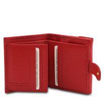 イタリア製シボ型押しレザーの三つ折りミニ財布 CALLIOPE、ルージュ、詳細3
