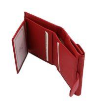 イタリア製シボ型押しレザーの三つ折りミニ財布 CALLIOPE、ルージュ、詳細4