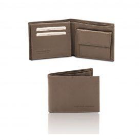 イタリア製シボ型押しレザー小銭入れポケットつきメンズ財布、ダークトープ