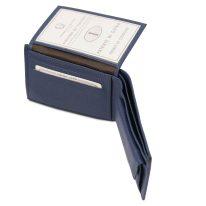 イタリア製シボ型押しレザー小銭入れポケットつきメンズ財布、ダークブルー、詳細1