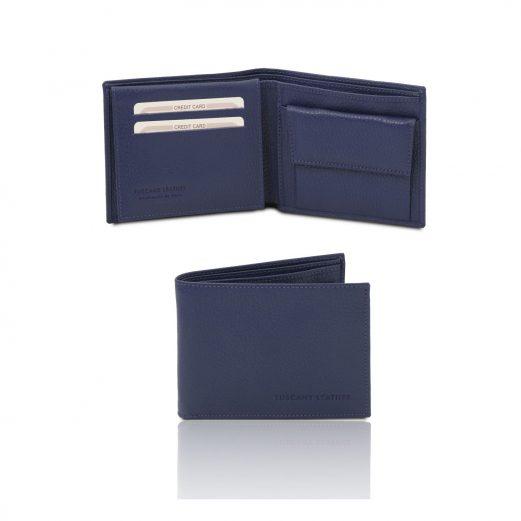 イタリア製シボ型押しレザー小銭入れポケットつきメンズ財布、ダークブルー