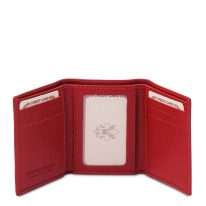 イタリア製シボ型押しレザー三つ折りメンズ財布、ルージュ、詳細2