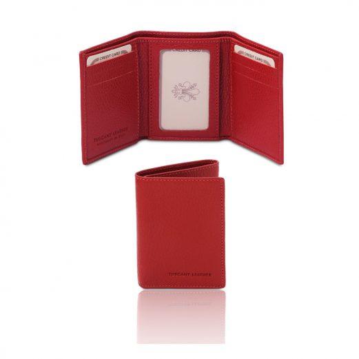 イタリア製シボ型押しレザー三つ折りメンズ財布、ルージュ