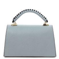 イタリア製シボ型押しレザーのワンハンドル2WAYハンドバッグ TL BAG、ライトブルー、詳細2