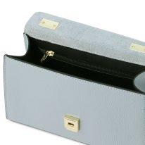 イタリア製シボ型押しレザーのワンハンドル2WAYハンドバッグ TL BAG、ライトブルー、詳細3