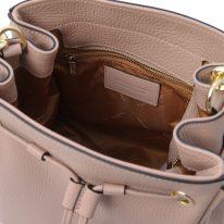 イタリア製シボ型押しレザー2WAYゴールドチェーン巾着バッグ TL BAG、ピンクベージュ、詳細4