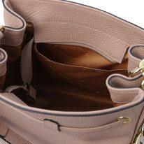 イタリア製シボ型押しレザー2WAYゴールドチェーン巾着バッグ TL BAG、ピンクベージュ、詳細5