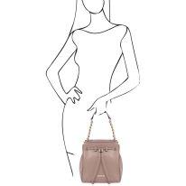 イタリア製シボ型押しレザー2WAYゴールドチェーン巾着バッグ TL BAG、ピンクベージュ、詳細6