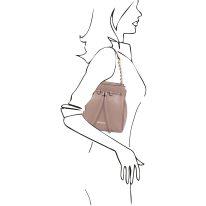 イタリア製シボ型押しレザー2WAYゴールドチェーン巾着バッグ TL BAG、ピンクベージュ、詳細7