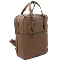 イタリア製シボ型押しソフトレザーのスーツケースに取り付けられるリュックTL BAG、ダークトープ、詳細1