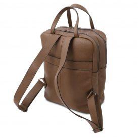 イタリア製シボ型押しソフトレザーのスーツケースに取り付けられるリュックTL BAG、ダークトープ、詳細2