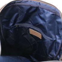 イタリア製シボ型押しソフトレザーのスーツケースに取り付けられるリュックTL BAG、ダークトープ、詳細4